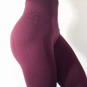 Pants - High Waist Workout Leggings - Wine Red